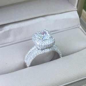 Jewelry - 2pcs 925 Silver Engagement Ring Wedding Band Set